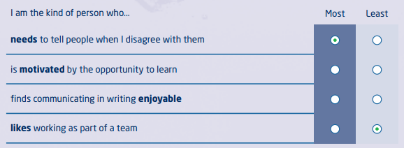 Saville Assessment Wave Focus Styles Questionnaire Exemple