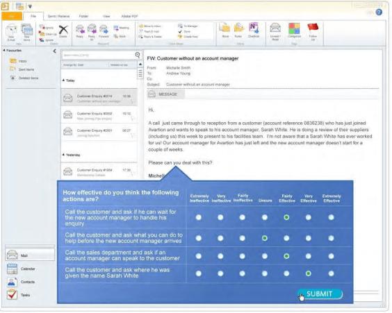 Exemple de Inbox Situational Judgement Test par Saville