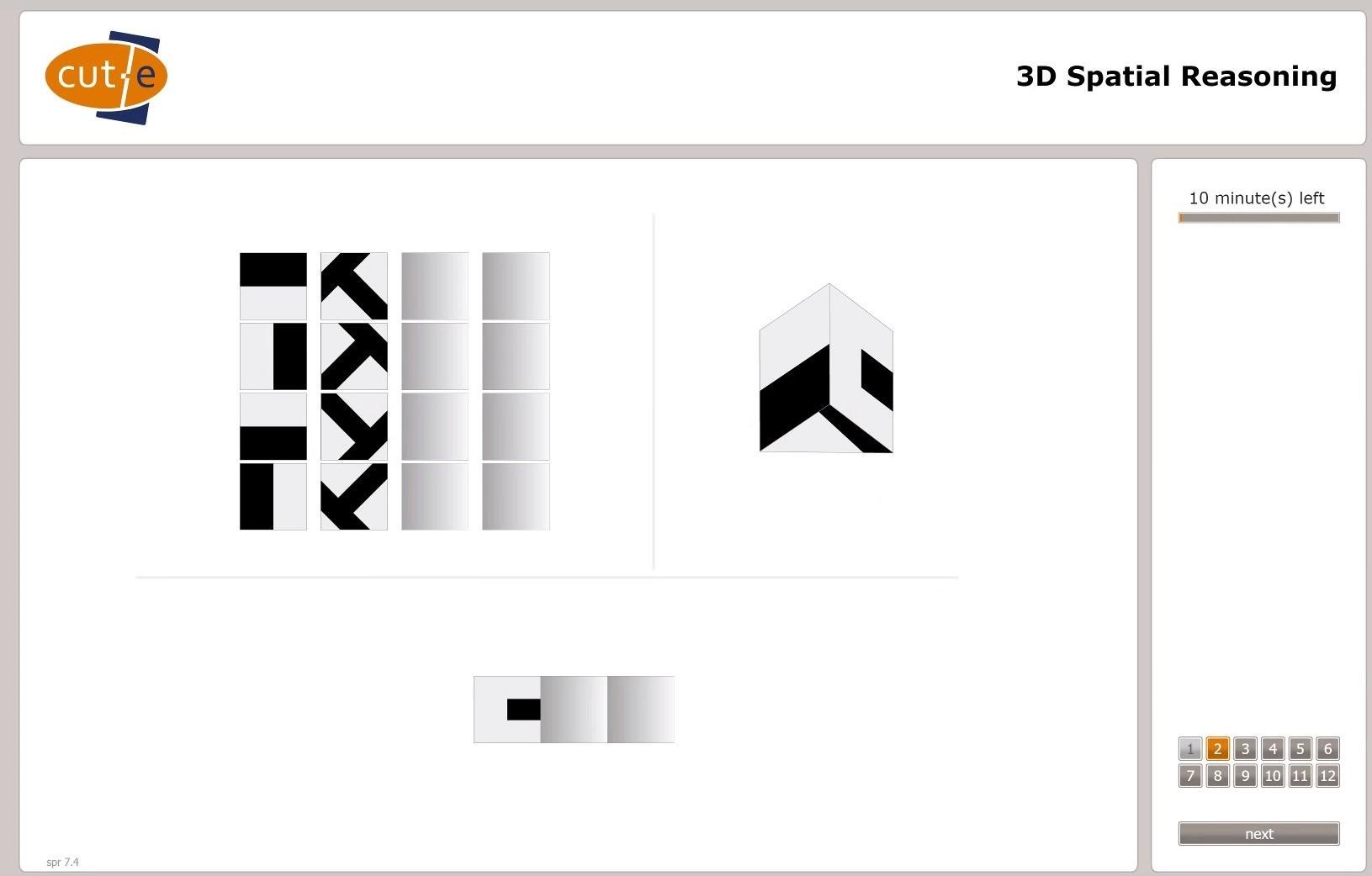 Exemple de test de raisonnement spatial 3D de cut-e